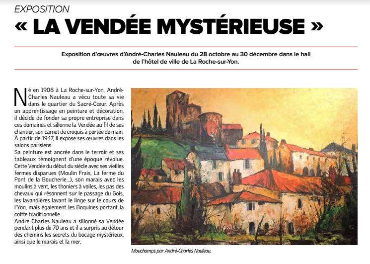 Article de presse pour l'exposition Nauleau à la mairie de La Roche sur Yon