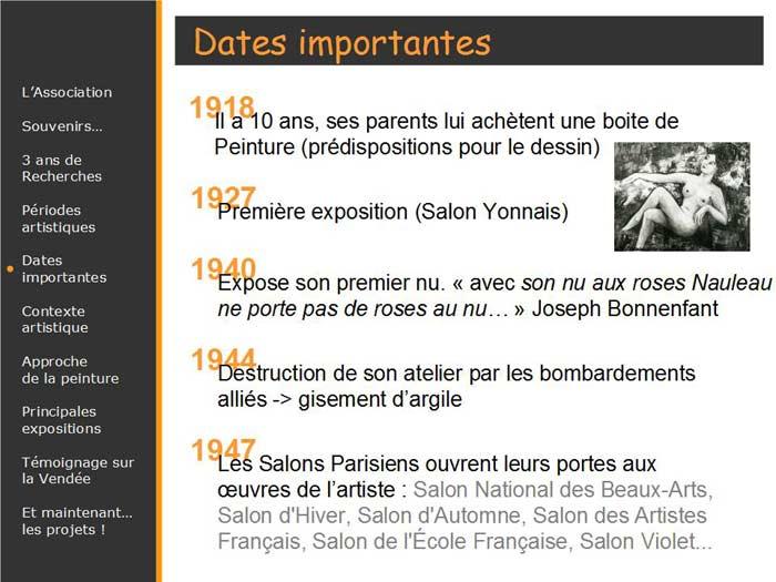 Dates importantes de la vie de l'artiste