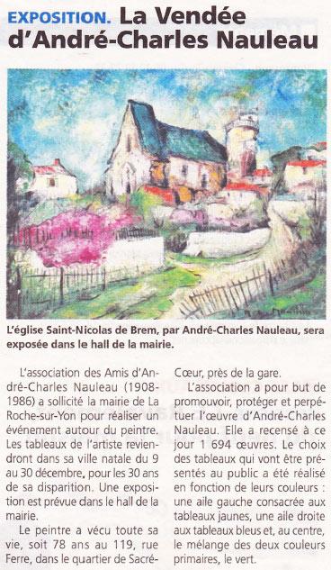 Article dans le journal du Pays Yonnais Nauleau expose dans sa ville natale