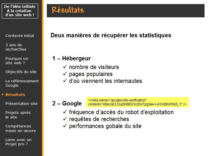 récupérer les statistiques google