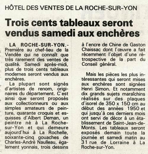 65 tableaux Nauleau en vente à La Roche-sur-Yon