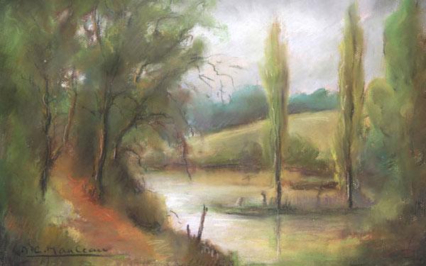 pastels bord de rivière