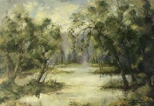 bord de rivière par le célèbre peintre
