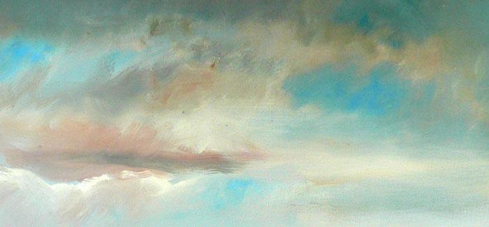 travail sur le ciel du tableau