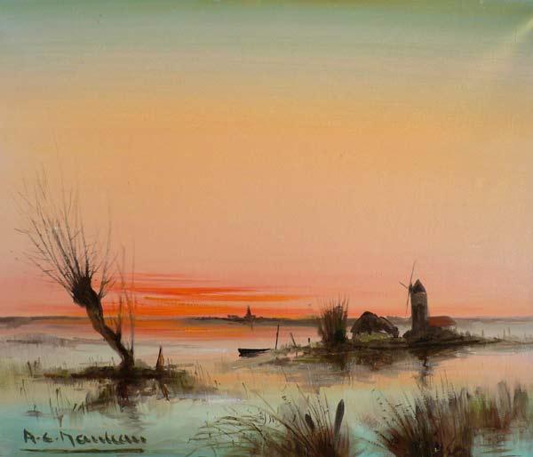 Coucher de soleil dans le marais