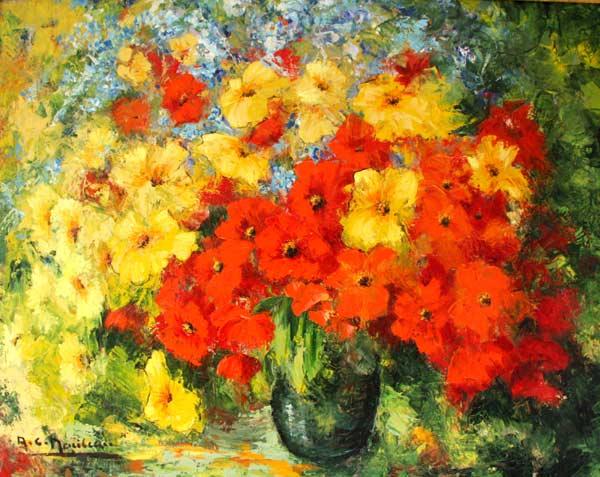 fleurs jaunes et rouges