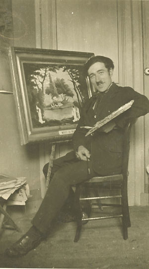 l'artiste dans son salon au 19 rue ferrer ç la roche sur yon