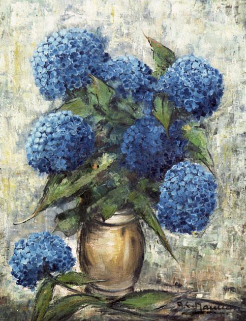 les hortensias bleus tableau du peintre nauleau