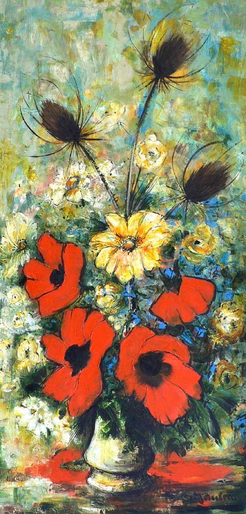 Bouquet de pavots et chardons