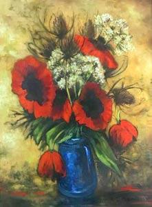 oeuvre représentant un bouquet de pavots